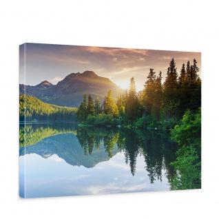 Leinwandbild Mountain Lake View Berge See Sonnenuntergang Romantisch Bäume Wald   no. 51