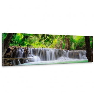 Leinwandbild Deep Forest Waterfalls Wasserfall Bäume Wald Thailand See Wasser Meer | no. 67