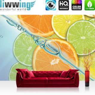 liwwing Vlies Fototapete 350x245 cm PREMIUM PLUS Wand Foto Tapete Wand Bild Vliestapete - Kulinarisches Tapete Limette Orange Zitrone Limone grün - no. 296