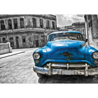 Fototapete Autos Tapete Oldtimer Havanna Kuba Gemälde schwarz - weiß | no. 1590