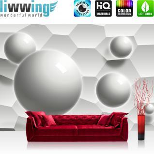 liwwing Vlies Fototapete 104x50.5cm PREMIUM PLUS Wand Foto Tapete Wand Bild Vliestapete - 3D Tapete Wabe Kugeln Kunst Abstrakt Muster Illustration grau - no. 1388