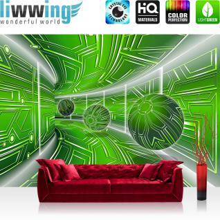 liwwing Vlies Fototapete 416x254cm PREMIUM PLUS Wand Foto Tapete Wand Bild Vliestapete - 3D Tapete Space Raumstation Micro Kugeln grün - no. 3215