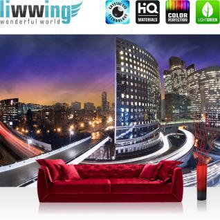 liwwing Vlies Fototapete 300x210 cm PREMIUM PLUS Wand Foto Tapete Wand Bild Vliestapete - New York Tapete Häuser Skyline Nacht Lightning Stadt weiß - no. 443