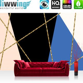 liwwing Fototapete 368x254cm PREMIUM Wand Foto Tapete Wand Bild Papiertapete - Texturen Tapete Kreuze Sterne stilisiert Muster gold - no. 3485