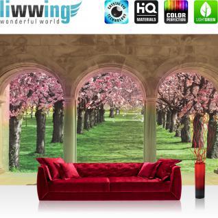 liwwing Vlies Fototapete 312x219cm PREMIUM PLUS Wand Foto Tapete Wand Bild Vliestapete - Natur Tapete Kirschbaum Architektur Säulen Bauwerk Natur Blüte Kirsch bunt - no. 1301