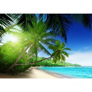 Fototapete Paradise Beach Strand Tapete Strand Meer Palmen Beach 3D Ozean Palme blau | no. 5