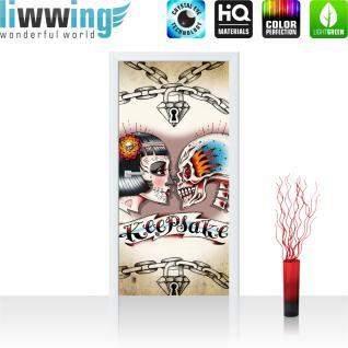 liwwing Türtapete selbstklebend 91x211 cm PREMIUM PLUS Tür Fototapete Türposter Türpanel Foto Tapete Bild - Totenkopf Ketten Schloss Braut Keepsake - no. 330