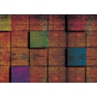 Fototapete Texturen Tapete Kacheln Vierecke 3D braun | no. 2669