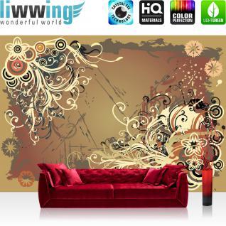 liwwing Vlies Fototapete 400x280 cm PREMIUM PLUS Wand Foto Tapete Wand Bild Vliestapete - Ornamente Tapete Ornament Blumen Illustrationen bunt braun beige schwarz brushes braun - no. 1103