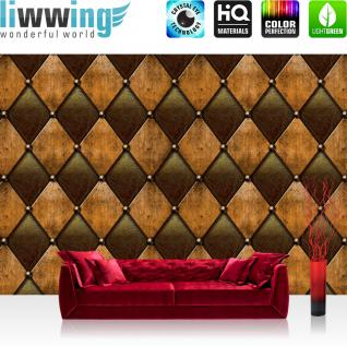 liwwing Vlies Fototapete 416x254cm PREMIUM PLUS Wand Foto Tapete Wand Bild Vliestapete - Kunst Tapete Abstrakt Design Modern Lederoptik Wand braun - no. 1528