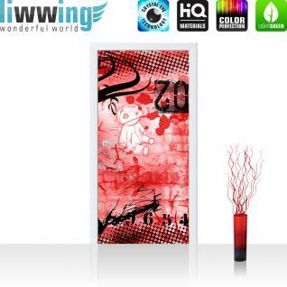 liwwing Vlies Türtapete 100x211 cm PREMIUM PLUS Tür Fototapete Türposter Türpanel Foto Tapete Bild Deko Kinderzimmer Teen Jugendzimmer Graffitti Rot - RED GRAFFITI WALL - no. 036
