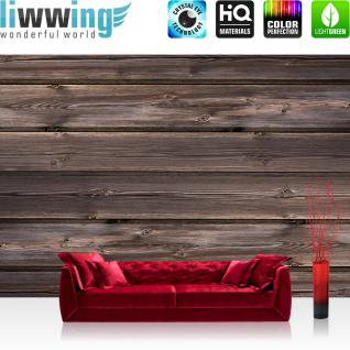 liwwing Fototapete 368x254 cm PREMIUM Wand Foto Tapete Wand Bild Papiertapete - Holz Tapete Holzwand Holzoptik Holz Paneele Natur braun - no. 1908