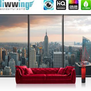 liwwing Vlies Fototapete 312x219cm PREMIUM PLUS Wand Foto Tapete Wand Bild Vliestapete - New York Tapete Skyline New York Fenster Ausblick Tower Wolken Fluss Häuser grau - no. 1929