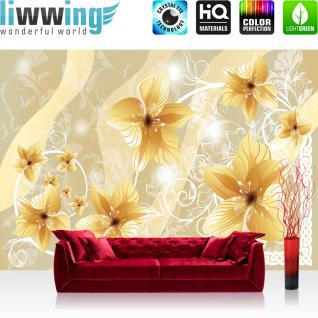 liwwing Vlies Fototapete 300x210 cm PREMIUM PLUS Wand Foto Tapete Wand Bild Vliestapete - Ornamente Tapete Orchideen Illustrationen gelb beige - no. 343