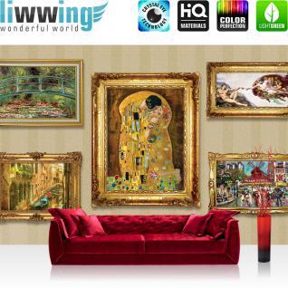liwwing Vlies Fototapete 208x146cm PREMIUM PLUS Wand Foto Tapete Wand Bild Vliestapete - Gemälde Tapete Rahmen Gemälde Venedig Moulin Rouge Paris Gondel Antike Rom gold - no. 1605