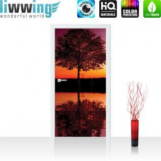 liwwing Türtapete selbstklebend 91x211 cm PREMIUM PLUS Tür Fototapete Türposter Türpanel Foto Tapete Bild - Baum Wasser Sonnenuntergang - no. 1102