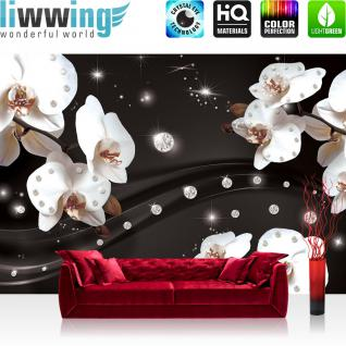 liwwing Vlies Fototapete 300x210 cm PREMIUM PLUS Wand Foto Tapete Wand Bild Vliestapete - Orchideen Tapete Ornament Orchidee Diamanten Blüten Blumen schwarz - no. 683