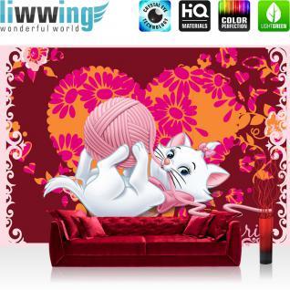 liwwing Fototapete 368x254 cm PREMIUM Wand Foto Tapete Wand Bild Papiertapete - Disney Tapete Disney - Aristocats Marie Kindertapete Cartoon Katze Blume rosa - no. 1115