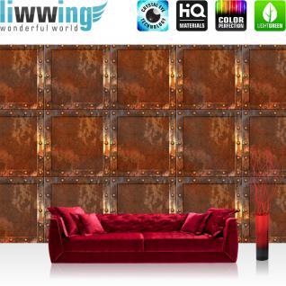 liwwing Vlies Fototapete 416x254cm PREMIUM PLUS Wand Foto Tapete Wand Bild Vliestapete - Kunst Tapete Abstrakt Design Kacheln Metall Nieten braun - no. 2841