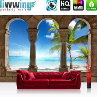 liwwing Vlies Fototapete 152.5x104cm PREMIUM PLUS Wand Foto Tapete Wand Bild Vliestapete - Meer Tapete Strand Sonne Palmen Fenster blau - no. 3058