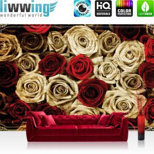 liwwing Vlies Fototapete 312x219cm PREMIUM PLUS Wand Foto Tapete Wand Bild Vliestapete - Blumen Tapete Rosen Blume Blüte Pflanze Liebe Ornamente Rahmen sepia - no. 2410