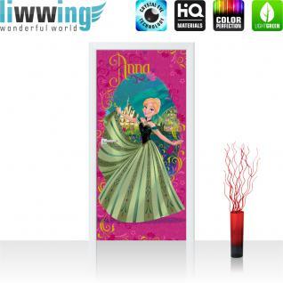 liwwing Vlies Türtapete 91x211 cm PREMIUM PLUS Tür Fototapete Türposter Türpanel Foto Tapete Bild - DISNEY Frozen Anna Kindertapete Cartoon Prinzessin Tanz Schloss - no. 1126