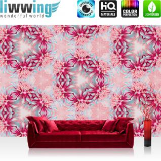 liwwing Vlies Fototapete 312x219cm PREMIUM PLUS Wand Foto Tapete Wand Bild Vliestapete - Illustrationen Tapete Muster Blume Illustration pink - no. 1290