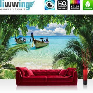 liwwing Fototapete 368x254 cm PREMIUM Wand Foto Tapete Wand Bild Papiertapete - Meer Tapete Strand Meer Boot Palme Wolken türkis - no. 649