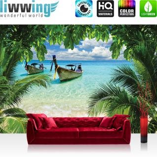 liwwing Vlies Fototapete 200x140 cm PREMIUM PLUS Wand Foto Tapete Wand Bild Vliestapete - Meer Tapete Strand Meer Boot Palme Wolken türkis - no. 649