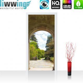liwwing Türtapete selbstklebend 91x211 cm PREMIUM PLUS Tür Fototapete Türposter Türpanel Foto Tapete Bild - Bäume Wald Bogen Wolken - no. 336