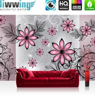 liwwing Vlies Fototapete 312x219cm PREMIUM PLUS Wand Foto Tapete Wand Bild Vliestapete - Ornamente Tapete Blumen Blüte Blätter Ranken Schnörkel rosa - no. 2099