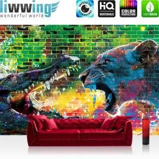 liwwing Vlies Fototapete 416x254cm PREMIUM PLUS Wand Foto Tapete Wand Bild Vliestapete - Graffiti Tapete Steinwand Steine Graffiti Tiere Krokodil Löwe Wasser bunt - no. 1918