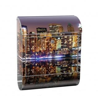 Edelstahl Wandbriefkasten XXL mit Motiv & Zeitungsrolle | New York City USA Amerika Empire State Building | no. 0020