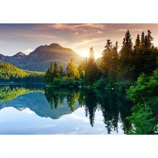 Fototapete Mountain Lake View Landschaft Tapete Berge See Sonnenuntergang Romantisch Bäume Wald blau   no. 51