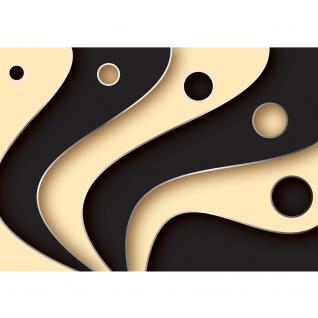 liwwing Fototapete 368x254 cm PREMIUM Wand Foto Tapete Wand Bild Papiertapete - 3D Tapete Abstrakt Streifen Kreise Fächer Design Kunst Muster 3D schwarz - no. 808 - Vorschau 2