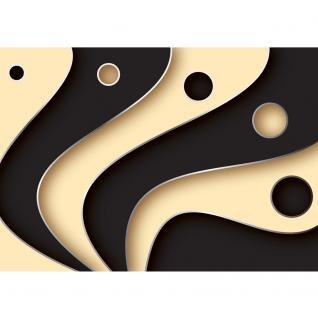 liwwing Vlies Fototapete 400x280 cm PREMIUM PLUS Wand Foto Tapete Wand Bild Vliestapete - 3D Tapete Abstrakt Streifen Kreise Fächer Design Kunst Muster 3D schwarz - no. 808 - Vorschau 2