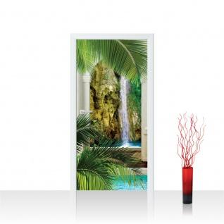 Türtapete - Palme Wasserfall Wasser Bogen | no. 417