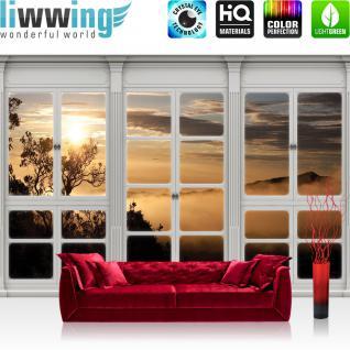 liwwing Fototapete 254x184cm PREMIUM Wand Foto Tapete Wand Bild Papiertapete - Wald Tapete Wasserfall See Laubwald Fenster natural - no. 3415