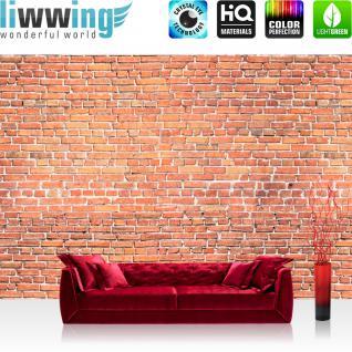 liwwing Vlies Fototapete 350x245 cm PREMIUM PLUS Wand Foto Tapete Wand Bild Vliestapete - RED BRICK STONE WALL Wandbild Steinwand Steintapete Ziegelwand Ziegel rot Mauer Ziegelmauer - no. 136