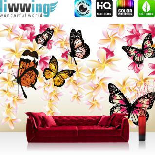 liwwing Fototapete 368x254 cm PREMIUM Wand Foto Tapete Wand Bild Papiertapete - Kunst Tapete Blume Blüten Schmetterlinge Blätter gold - no. 1559
