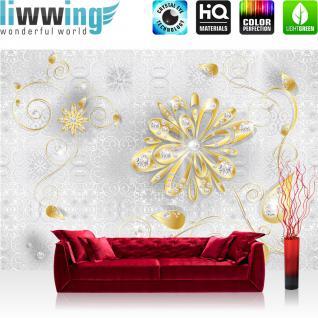 liwwing Vlies Fototapete 300x210 cm PREMIUM PLUS Wand Foto Tapete Wand Bild Vliestapete - Ornamente Tapete Ornament Blumen Gold Diamant silber silber - no. 1131