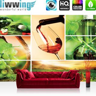 liwwing Vlies Fototapete 300x210 cm PREMIUM PLUS Wand Foto Tapete Wand Bild Vliestapete - Kulinarisches Tapete Rotwein Glas Pflanze Getränke Feld Küche grün - no. 289