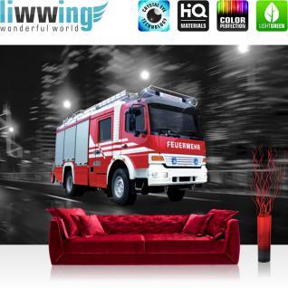 liwwing Fototapete 254x168 cm PREMIUM Wand Foto Tapete Wand Bild Papiertapete - Skylines Tapete Feuerwehr Auto Nacht Lichter Skyline rot - no. 541