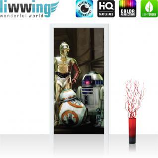 liwwing Vlies Türtapete 91x211 cm PREMIUM PLUS Tür Fototapete Türposter Türpanel Foto Tapete Bild - STAR WARS C-3PO & R2-D2 & BB-8 Kindertapete Cartoon Roboter - no. 846