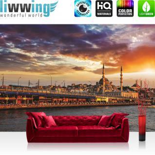 liwwing Fototapete 368x254 cm PREMIUM Wand Foto Tapete Wand Bild Papiertapete - Istanbul Tapete Stadt Himmel Wasser Skyline blau - no. 1192