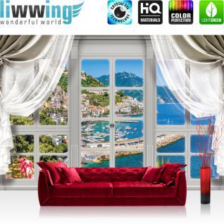 liwwing Fototapete 368x254cm PREMIUM Wand Foto Tapete Wand Bild Papiertapete - Meer Tapete Mittelmeer Hafen Yachten Fenster natural - no. 3400