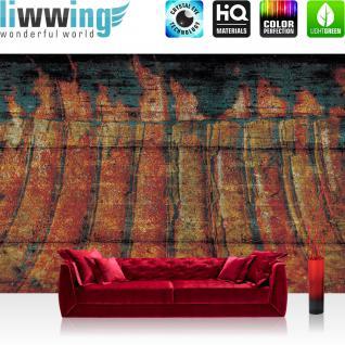 liwwing Fototapete 254x168 cm PREMIUM Wand Foto Tapete Wand Bild Papiertapete - Welt Tapete Raum Weltall Holzwände Holz Scheibe bunt - no. 1254