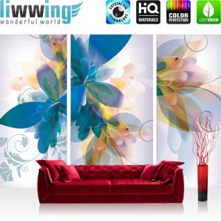 liwwing Vlies Fototapete 416x254cm PREMIUM PLUS Wand Foto Tapete Wand Bild Vliestapete - Kunst Tapete Blumen Blüten Blätter Schmetterling Kacheln weiß - no. 2183