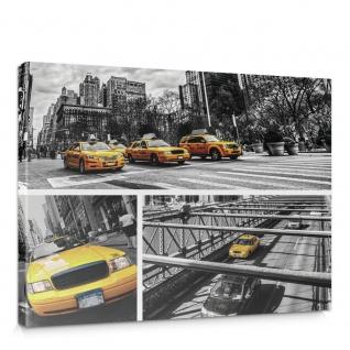 Leinwandbild New York Brücke Taxi Haus Bäume Bus Fahne Fluss Menschen Straße | no. 849