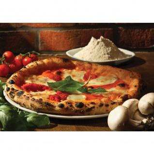 Fototapete Speisen Tapete Pizza Gewürze Gemüse Pilze Tomaten Basilikum braun | no. 1392